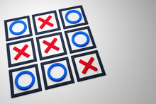3D Illustration Of A Tic-tac-toe Game With No Winning Side In Cartoon Style On A White Background. Game And Draw Illustration.