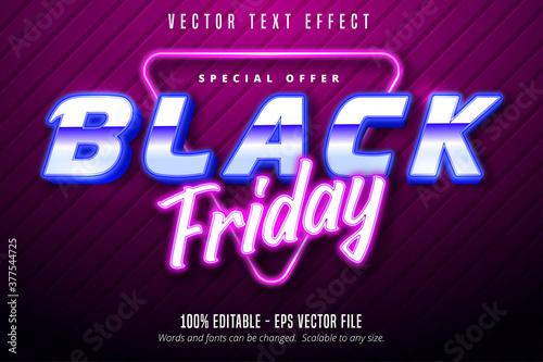 Fototapeta Black friday text, Neon lights signage style editable text effect obraz na płótnie