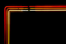 Isolated Red Orange And Yellow Border Neon Sign