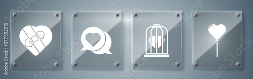 Fototapeta Set Balloons in form of heart, Heart in the bird cage, Heart in speech bubble and Candy in heart shaped box