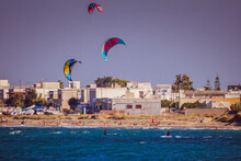 Playing With The Kitesurf On The Adriatic Sea. Puglia Italy