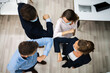 Leinwandbild Motiv Employee Doing Elbow Bump To Avoid Flu