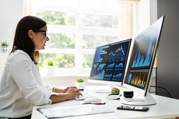 Fototapeta Boks Analyst Women Looking At KPI Data