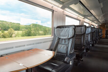 Train Interior At First-class On German Intercity Express. Empty Train Seats At Business Class