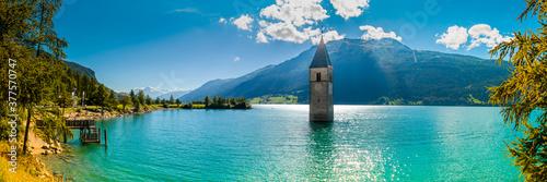 campanile 01 - in Val Venosta, spunta dal lago il campanile della vecchio paese Wallpaper Mural