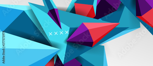 3d low poly abstract shape background vector illustration Canvas Print