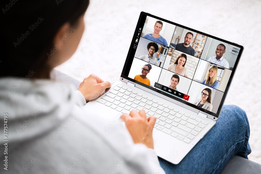Fototapeta Video Conference Work Webinar Online