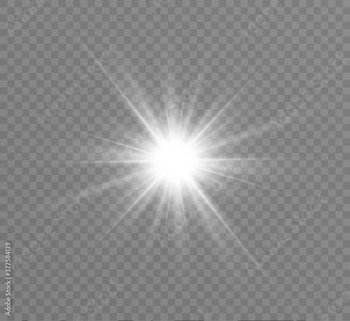 Fototapeta White glowing light explodes on a transparent background. Bright Star. Transparent shining sun, bright flash. Vector graphics. obraz na płótnie