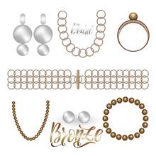 Jewelry Bronze Vintage Fashion Realistic Set On White Background