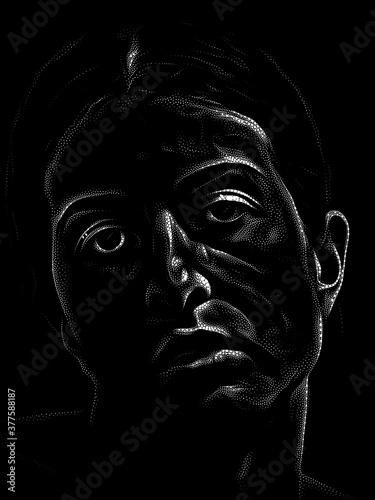 Fototapeta Black and White Stippling Portrait obraz
