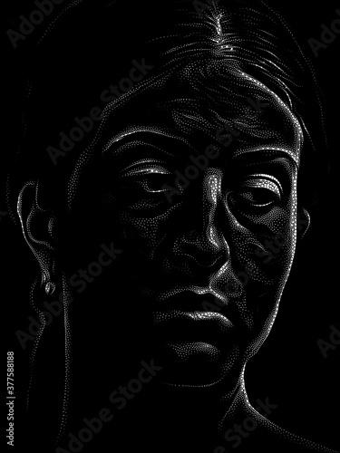 Fototapeta Stippling Portrait of a Young Woman obraz