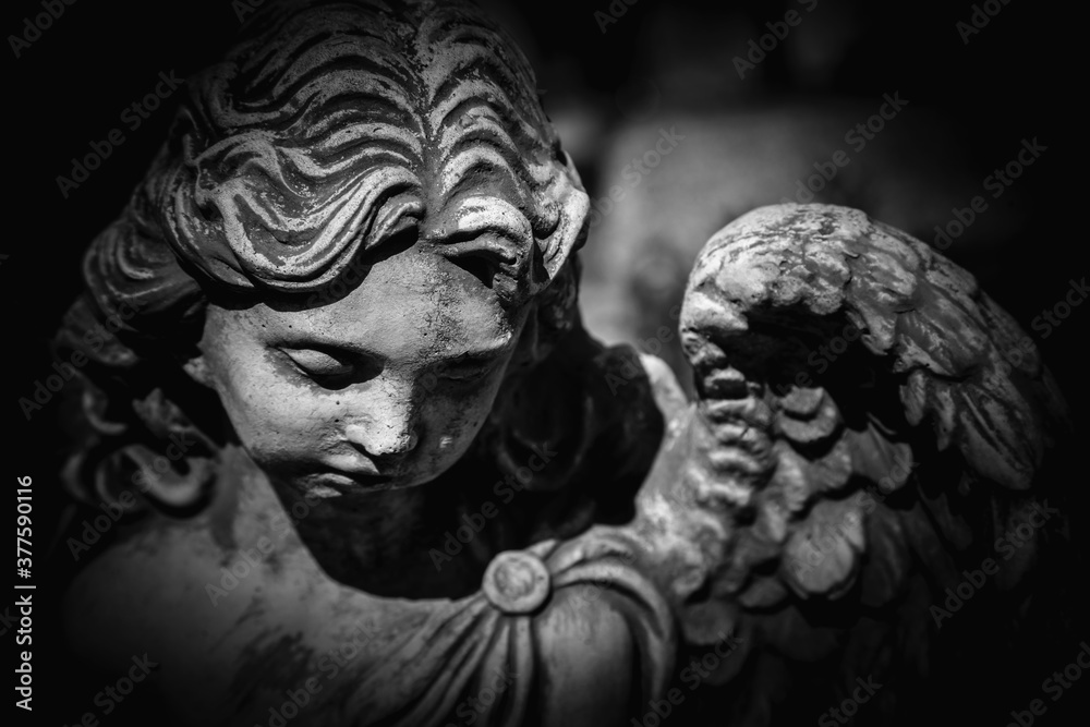 Fototapeta Death. Close up sad angel as symbol of pain, fear and end of life. Ancient stone statue. Black and white background.
