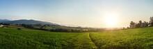 Panorama Ausblick In Österreich / Österreichische Wiesen Berge Und Felder