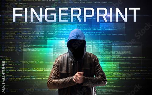 Fototapety, obrazy: Faceless hacker with FINGERPRINT inscription on a binary code background