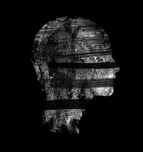 Female Head Silhouette On Dark...