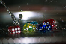 Dice In Water Splash