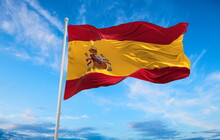 Large Spanish Flag Waving In T...