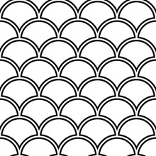 Fish Scale Wallpaper. Asian Traditional Ornament With Repeated Scallops. Repeated Black Curves On White Background. Seamless Surface Pattern Design With Semicircles. Grid Motif. Digital Paper. Vector.
