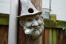Wooden Gnome Smoking