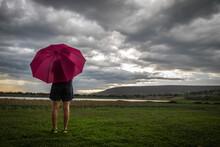 Pregnant Woman, Red Umbrella