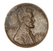 Very corroded and worn out old US Lincoln penny