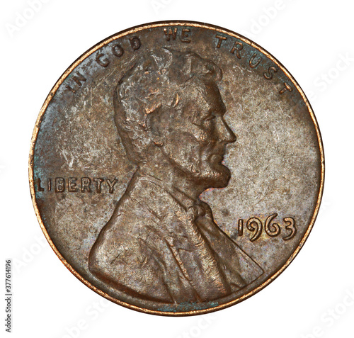 Fototapeta Very corroded and worn out old US Lincoln penny obraz