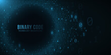 Binary Code On A Dark Blue Bac...