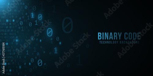 Binary code background. Hi-tech modern design. Programming banner. World network. Technology template. Vector illustration.