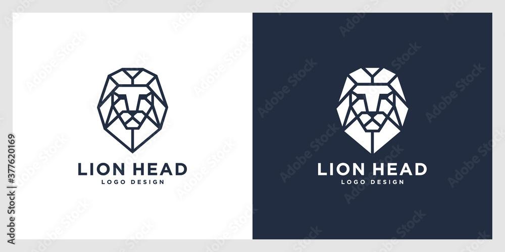Fototapeta lion head mono line logo vector