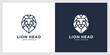 lion head mono line logo vector