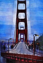 Golden Gate Bridge Oil Painting