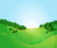 Green Landscape With Blue Sky.