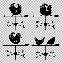 Weathervane Icon Set. Logo With A Rooster. Vector Illustration.