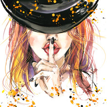 Halloween Witch Watercolor Illustration. Halloween Party Hand Drawn Posters
