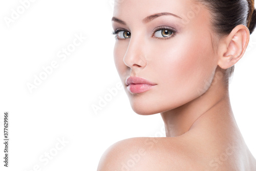 Obraz Beautiful face of young woman with perfect health fresh skin - fototapety do salonu