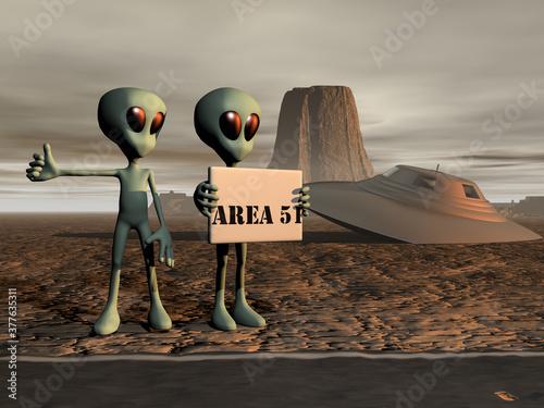 Fototapeta Ilustración 3d con una pareja de alienígenas haciendo auto-stop en una carretera