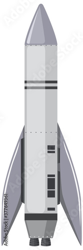 Isolated space rocket cartoon