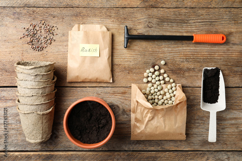Flat lay composition with vegetable seeds and gardening equipment on wooden tabl Fototapeta