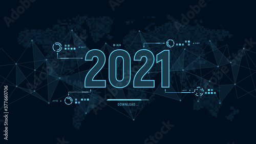 Fotografie, Obraz Modern futuristic template for 2021 on background with polygons connection structure and world map in pixels