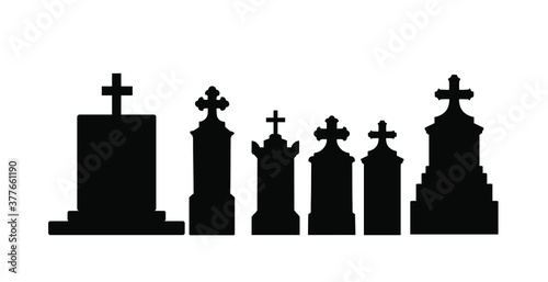 Fotografía Tombstone vector silhouette illustration collection isolated on white background