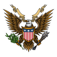 Eagle With Shield And Ribbon. Colorful Vector Illustration Of Bald Eagle With Shield, Arrows And Olive Branch In Engraving Technique. Isolated On White.