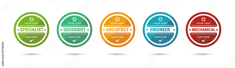 Fototapeta Set of company training badge certificates to determine based on criteria. Vector illustration certified logo design.