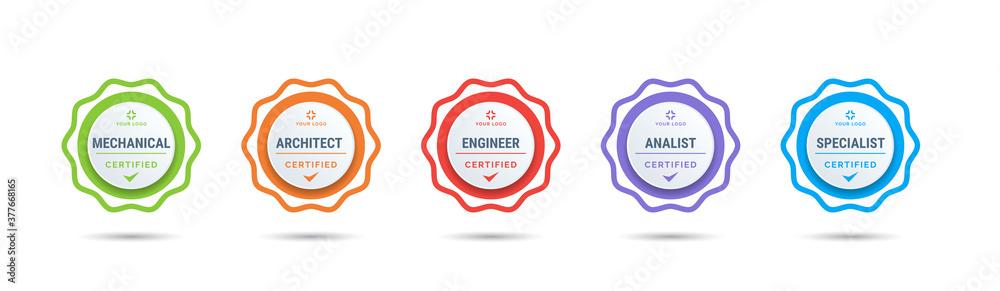 Fototapeta Certified badge logo design for company training badge certificates to determine based on criteria. Set bundle certify colorful vector illustration.