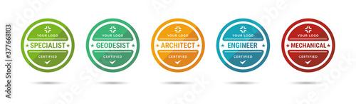 Fototapeta Set of company training badge certificates to determine based on criteria