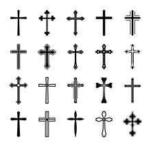 Set Christian Cross Vector Sym...