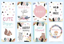 Collection Of Woodland Cards Set With Reindeer,bear,flower,wreath,squirrel.Vector Illustration For Birthday Invitation,postcard And Sticker.Editable Element