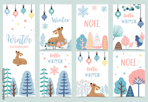 Collection of winter background set with reindeer,bird,flower,leaves.Editable vector illustration for birthday invitation,postcard and website banner