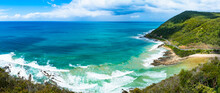 Panoramic View From Hill Teddy's Lookout  Ocean Waves Sunny Day Blue Bright Sky Great Ocean Road State Victoria Australia Mountain On The Right Look Down