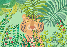 Tiger Peeking Through Leaves