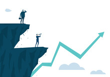 Business Man Looking With The Telescope From The Top Of Cliffs Stands At The Edge In Risky Position. Making Investments, Since New Start Up Concept Illustration